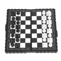International Chess Portable Plastic Folding Chessboard Magnetic Chess Set Game for Children Teenager Party Family Activity