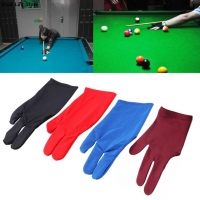 Spandex Snooker Billiard Cue Glove Pool Left Hand Open Three Finger Accessory for Unisex Women and Men 4 Colors