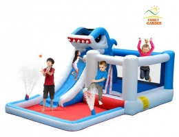 Kids Inflatable Shark Water Slide Bounce House Jumper Bouncer Jump Bouncy Castle