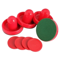 Red Air Hockey Pusher Classic Game Air Hockey 4Pcs Table Pucks And 4Pcs Felt Pusher Mallet Grip For  Entertainment Table Game