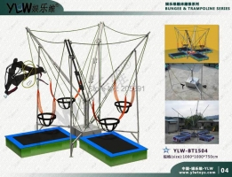 4 station bungee trampoline with motors operated mostly suit for the parks,entertainment bungee
