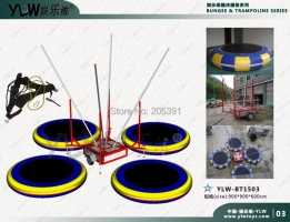 4 station mobile bungee trampoline,motor operated trampoline with trailer,4 in 1 jumping trampoline for amusement park