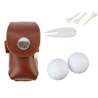 Leather Golf Ball Bag Holder Clip Small Waist Pack Utility Pouch Sports Golf Training Accessories with Ball Tees Divot Tool