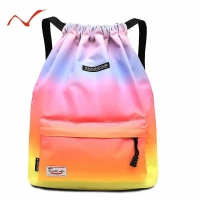 Waterproof Gradient Drawstring Gym Bag Woman Girls Sports Backpack Training Swimming Fitness Bag Softback Surfing Bag