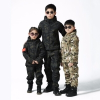 Upgraded Kids Outdoor Camo Soft Shell Clothes CS Fishing Hunting Children Sets Trekking Hiking Riding Sports Jacket Pants Suits