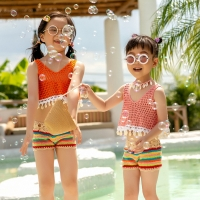 Girls' Crochet Bikini Swimwear Suits 2020 Two-Pieces Children Girls Beach Bathing Suits Little Girls Sport Biquini Swimsuit Set