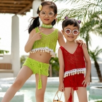 Little Girls Two-piece Crochet Swimsuit Kids Baby Girl Bikini Suit Swimwear Bathing Swimming Swimmer Costume Clothes