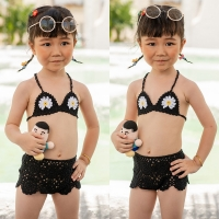 Girls Swimwear Baby Kids Cute Bikini Girls Crochet Split Two Pieces Swimsuit Bathing Suit Beachwear Kids Biquini Infantil