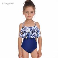 Girls One Piece Swimsuit Blue with Leaves Print Kids Swimwear Children Bathing Suit Sandy Beachwear Baby Swimming Pool Wear
