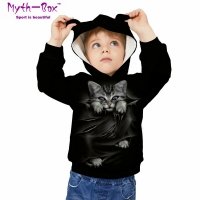 Children's Sports Hoodies Black Cat 3D Print Kids Sweatshirts Junior Child Long Sleeve Pullover 5-12y Boy&Girl's Hooded Sweaters