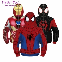 Autumn Winter Children's Jackets Teenage Child Hoodies Junior Kids Zipper Coat Spider Superhero's Clothes 5-12y Boy&Girl's Tops