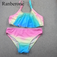 Ranberone Two Piece Bathing Suits Girls Swimsuit Rainbow Stripes Swimwear Split Bikini Summer Suit Baby Kids Clothes