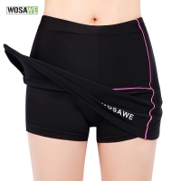 WOSAWE Cycling Mini Skirt Women Bike Bicycle Pleated Skirt & Shorts MTB Mountain Road Bike Sexy Skirt with 4D Gel Padded, Black