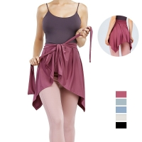 Irregular Yoga Shawl Women Knot Sports Hip Cover Skirt Running Ballet Dancing Tennis Fitness Anti-Embarrassing Half-Length Apron