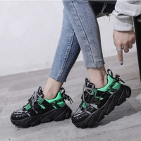 Women's Casual Shoes Platform Walking Sneakers Woman Breathable Air Cushion Outdoor Solid Heightening Footwear Chaussures Femme