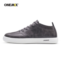 ONEMIX Man Walking Shoes For Men Microfiber Leather Sneakers Nice Road Trends Skateboarding Shoe Gray Tennis Outdoor Footwear