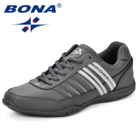 BONA Fashion Male Casual Shoes Leather Tennis Brand New Comfortable Thin Outsole Popular Walking Shoes Man Classics Style Shoes