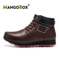 Winter Warm Mens Golf Shoes Rubber Non-Slip Male Sneakers High Top with Fur Golf Shoes Men Dark Brown Leather Golf Men Sneakers