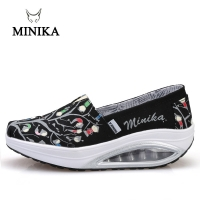 2020 Minika Swing Shoes Canvas Breathable Ladies Trainers Wedges Chaussure Femme Sport Platform Shoes For Women Zapatos Mujer