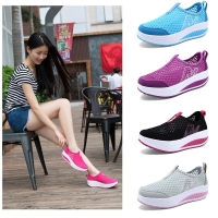 Women's Casual Shoes Platforms Slip On Breathable Cushioning Walking Toning Shoes Wedges Height Increasing Swing Shoes