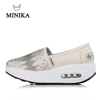 Minika Slimming Shoes Women Summer Breathable Slip On Sport Shoes Female Fitness Swing Platform Wedge Shoes Lady Walking Sneaker