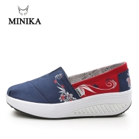 Minika Women Girls Canvas Platform Shoes Printing Slip On Swing Shoes Fitness Height Increasing Toning Walking Shoes