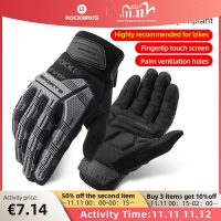 ROCKBROS Cycling Gloves Autumn Winter Windproof SBR Touch Screen Bike Gloves MTB Breathable Full Finger Shockproof Sport Gloves
