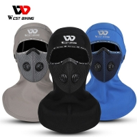 WEST BIKING Winter Sport Cycling Headwear With Activated Carbon Filter Face Cover Ski Bicycle Motocycle Fleece Head Cap Hat