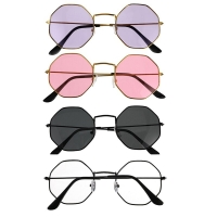 4 Colors Fashion Vintage Retro Metal Frame Clear Lens Glasses Nerd Geek Eyewear Eyeglasses Polygon Eye Glasses