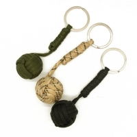 2 Pcs/lot Emergency Security Protection Black Monkey Fist Wood Ball Self Defense Parachute Lanyard Survival Camping Key Chain