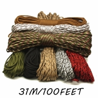 Paracord 550 Woven Hanging Parachute Cord Lanyard  7 Strands Ropes Outdoor Tools Mil Spec Type III 100 FT 31M