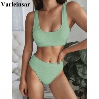 5 Colors Sexy 2020 Ribbed Swimsuit High Waist Bikini Women Swimwear Two-pieces Bikini set Bather Bathing Suit Swim Wear V1946G