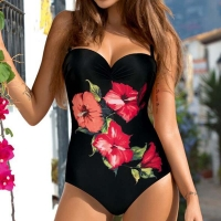 Sexy One piece Swimsuit Closed Large Size Print Swimwear Women Flower Push Up Swimsuits Body 2019 Female Beach Bathing Suit XXL