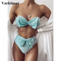 Bow Bandeau High Waist Bikini 2020 Female Swimsuit Women Swimwear Two-piece Bikini set Strapless Bather Bathing Suit Swim V2172M