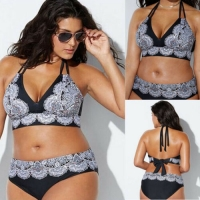 New Women Plus Size 2 Piece Set Print Swimwear Push-up Padded Bathing Suit XL-5XL Hot