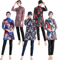 Islamic Women Swimwear Burkini Muslim Hooded Hijab Swimsuit Modest Swim Surf Wear Floral Sport Full Suit for Swimming 3 Piece