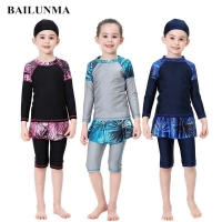 BAILUNMA Girl's Burkinis Muslim Swimwear Modest swim wear Children's Swimsuit Patchwork Long Sleeve Islamic Swimsuit hijab B1012
