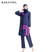Muslim Swimwear Burkinis Women Modest Patchwork Full Cover Long Sleeve Swimsuit Short Sleeves Swim Wear Islamic Swimsuit