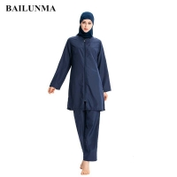 BAILUNMA Women Muslim Sport Islamic Swimsuit Ladies Muslim Wear Clothing Burkinis Muslim Swimwear Modest Swimsuit Hijab M007
