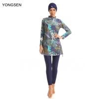 YONGSEN 2020 Muslim Swimwear Women Modest Patchwork Full Cover Long Sleeve Swimsuit Islamic Hijab Islam Burkinis Wear Bathing