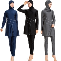 Islamic Women Muslim Swimwear Burkini Hooded Hijab Swimsuit Modest Swim Surf Wear Sport Full Suit for Swimming 3 Piece sets 2020