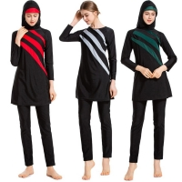 Burkini 2020 New Long Sleeves Muslim Swimwear Women Patchwork Color Hijab Maillot de bain femme Swimsuit Islamic Swim Wear