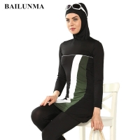 Fashion Muslim Women Swimwear Full Suit For swimming Modest Islamic Swimsuit Hijab Beachwear Femme Musulmane Sport Clothing