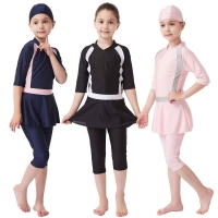 Kids Muslim Swimwear Cap+jumpsuit+skirt 3pcs Girls Modest Swimsuit Swimming Bath Shorts Diving Suit Arab Islamic Girl Beachwear