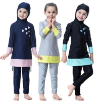 Girls Muslim Swimwears Islamic lovely Children Two-piece Long Sleeve Islam Beach Wear Swimming Diving Suits Burkinis Swimsuits