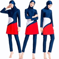 2020 New Burkini  Patchwork Islamic Swim Wear Bourkini Sport Burkinis Women Hijab Sport Islami Mayo Long sleeve Muslim Swimsuit
