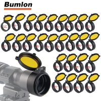 30-69MM Transparent Rifle Scope Lens Cover Flip Up Quick Spring Protection Cap Yellow Objective Lense Lid for Calibe HT37-0073