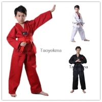 Red Black White Taekwondo Uniform Unisex Children Adult Suit Karate Judo Dobok WTF Karate Clothes Long Sleeve Fitness Training