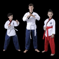 Taekwondo Dobok Long-sleeve Tae kwon do Uniform Karate Clothes Proffesional Taekwondo Trainers Black Stripe Clothing kids adult