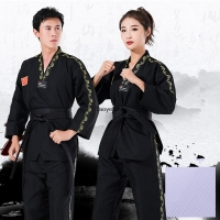 Taoyekma Professional Black Taewkondo Trainning Clothing Adult Children Taekwondo uniform Male Female WTF Competition suit
